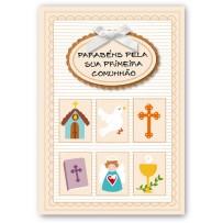 Cartão Artesanal Primeira comunhão Tag