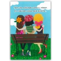 Cartão Artesanal Amigas no banco