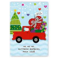 Cartão Artesanal Natal Caminhão presentes