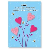 Cartão Artesanal Mãe Corações abelhas