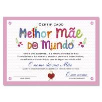 Cartão Certificado Melhor Mãe Letras coloridas