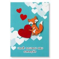 Cartão Artesanal Raposa coração