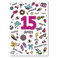 Cartão Artesanal 15 Anos Colorido