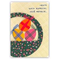 Cartão Artesanal Páscoa Cesta com ovos