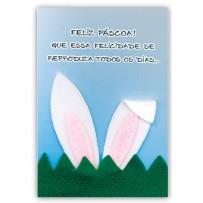 Cartão Artesanal Páscoa Orelha coelho
