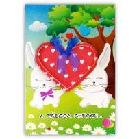 Cartão Artesanal Páscoa Coelhos no jardim