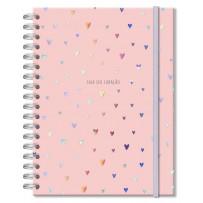 Caderno colegial 200 fls. Corações holográficos