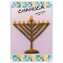 Cartão Artesanal Judaico Chanucá Menorá