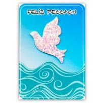 Cartão Artesanal Judaico Pessach pomba